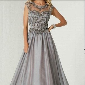Tiffany Beaded Illusion Bateau Neck A-Line Gown 12